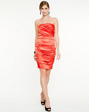 Foil Satin Strapless Dress