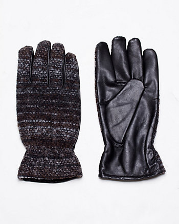 Tweed & Lambskin Leather Glove