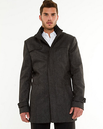 Wool Blend Funnel Neck Car Coat