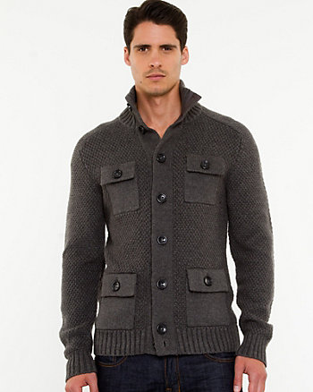Tweed Funnel Neck Cardigan