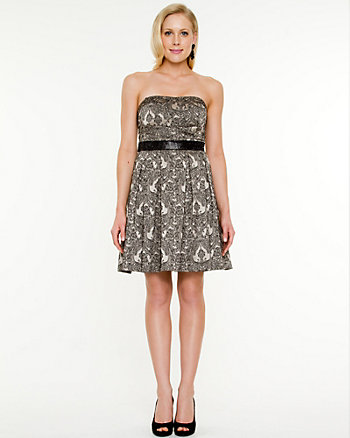 Jacquard Print Fit & Flare Dress