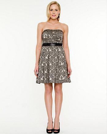 Jacquard Print Fit & Flare Dress