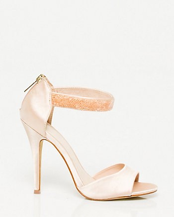 Satin Jewel Encrusted Ankle Strap Shoe