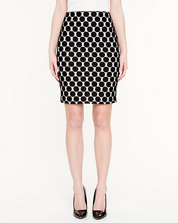 Polka Dot Lace Pencil Skirt