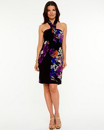 Floral Knit Halter Dress