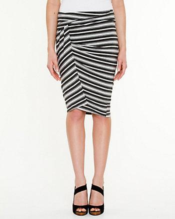 Stripe Jersey Draped Skirt