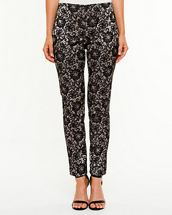 Jacquard Print Slim Leg Pant