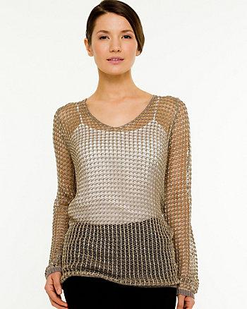 Mesh Scoop Neck Sweater