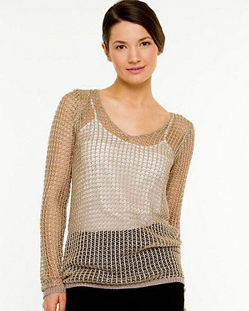 Mesh Scoop Neck Sweater