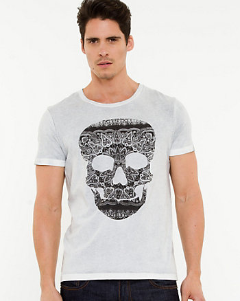 Skull Print Cotton T-shirt
