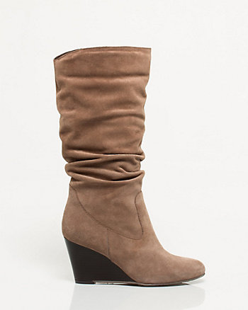 Italian Design Suede Mid Calf Wedge Boot