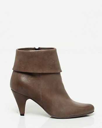 Leather Almond Toe Foldover Bootie