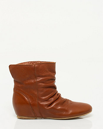 Italian Made Ruched Leather Ankle Boot