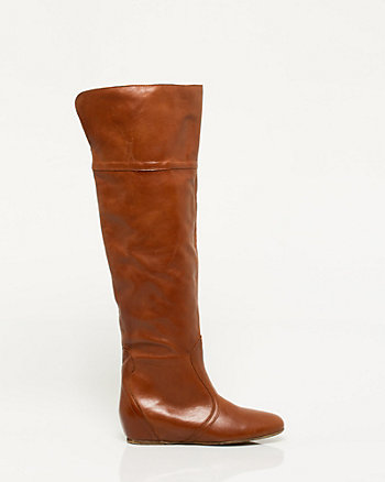 Italian-Made Leather Foldover Boot
