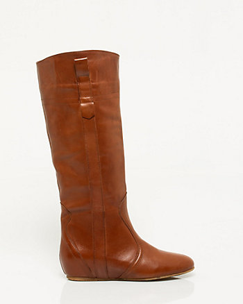 Italian-Made Leather Almond Toe Boot