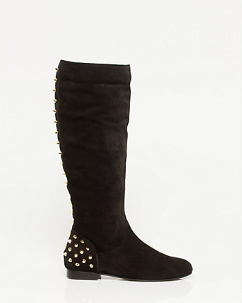 Suede Studded Knee-high Boot