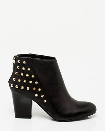 Italian Made Leather Studded Bootie