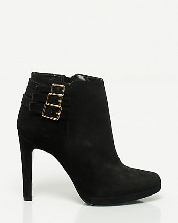 Suede Almond Toe Bootie