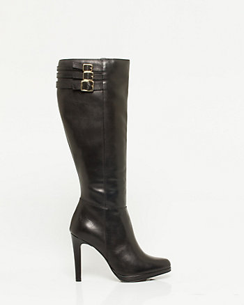 Leather Almond Toe Platform Boot
