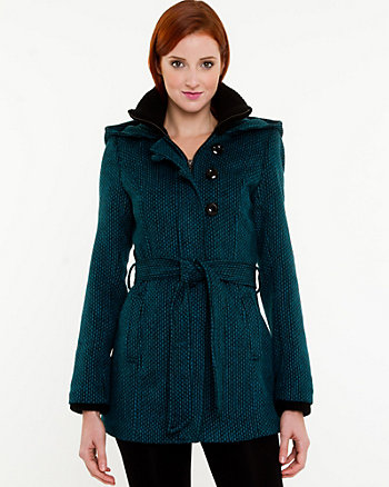 Tweed Hooded Coat