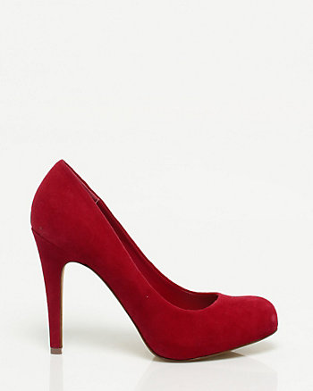 Suede Almond Toe Platform Pump