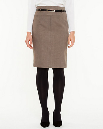 High Waisted Belted Pencil Skirt