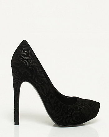 Embossed Suede Almond Toe Pump
