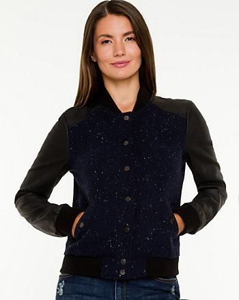 Tweed & Faux Leather Baseball Jacket