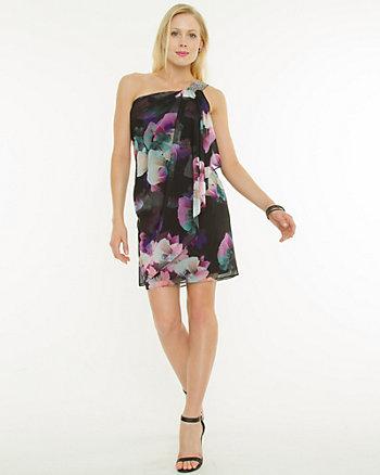 Chiffon Floral One Shoulder Dress