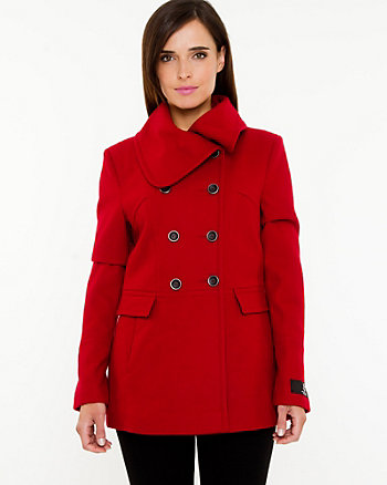Melton Split Cowl Neck Coat