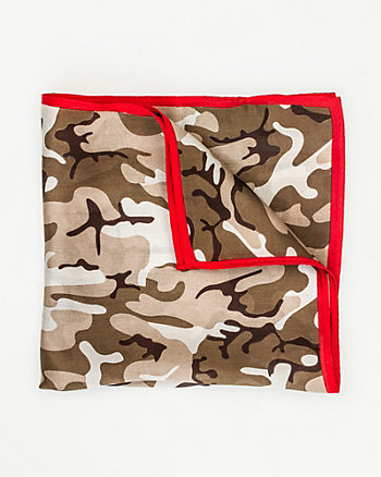 Camo Print Silk Pocket Square