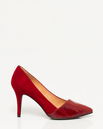 Two-tone Suede Pointy Toe Pump