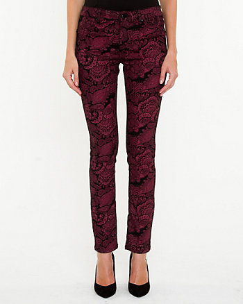 Printed Denim Slim Leg Pant