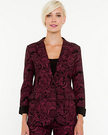 Printed Denim Notch Collar Blazer