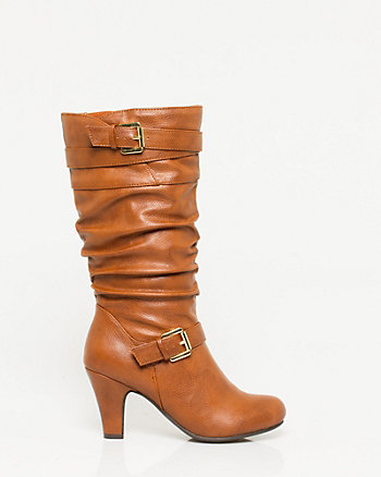 Leather-Like Mid Calf Almond Toe Boot