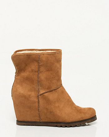 Suede-like Wedge Bootie