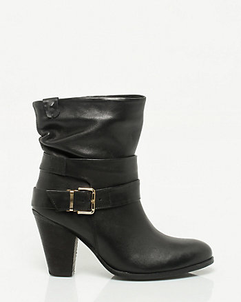Leather Almond Toe Boot