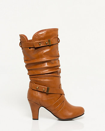 Faux Leather Mid Calf Ruched Boot