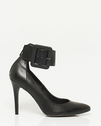 Leather-Like Ankle Cuff Pump