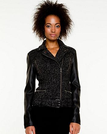 Bouclé Spread Collar Blazer
