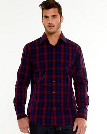 Cotton Check Print Tailored Fit Shirt