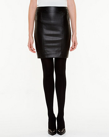 Leather-Like & Knit Pencil Skirt