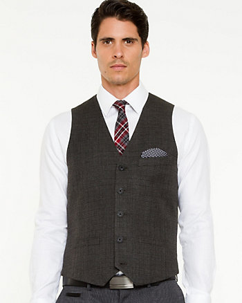 Check Print Contemporary Fit Vest