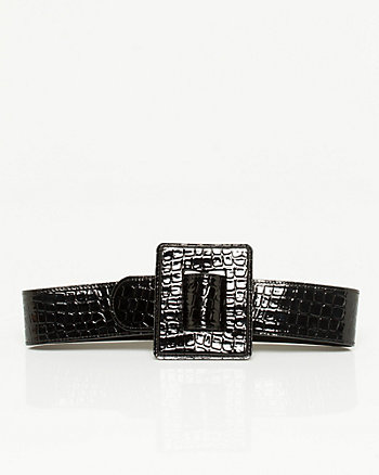 Crocodile Print Square Buckle Belt