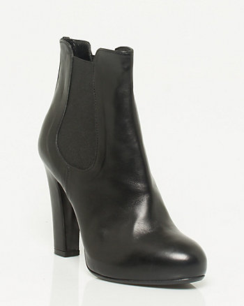 Italian Made Leather Platform Ankle Boot