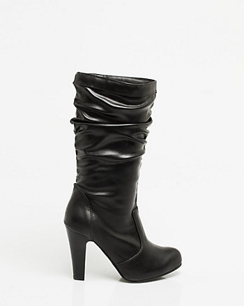 Leather-Like Ruched Platform Boot