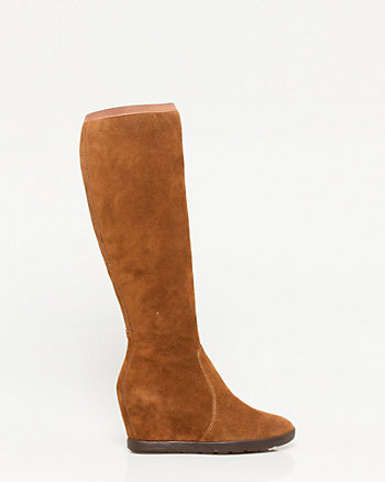 Suede Knee-High Wedge Boot