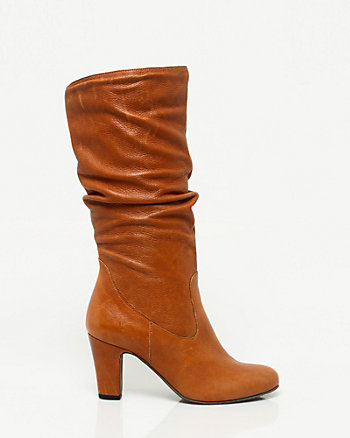 Italian Design Leather Ruched Mid Calf Boot