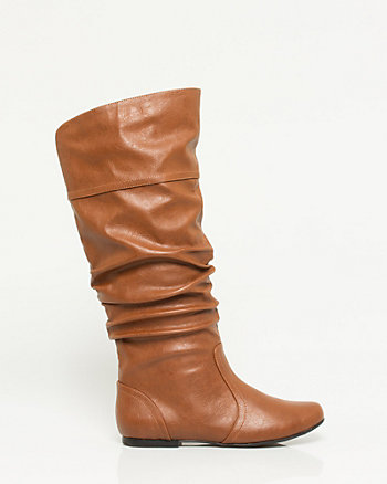 Leather-Like Ruched Knee-High Boot