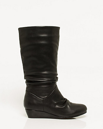 Leather-Like Pleated Knee-High Boot